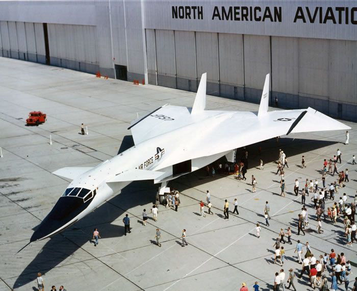 The XB-70, one of the world's most exotic airplanes, was conceived for the Strategic Air Command in the 1950s as a high-altitude bomber that could fly three times the speed of sound (Mach 3). Because of fund limitations, only two were built, not as bombers, but as research aircraft for the advanced study of aerodynamics, propulsion and other subjects related to large supersonic aircraft.