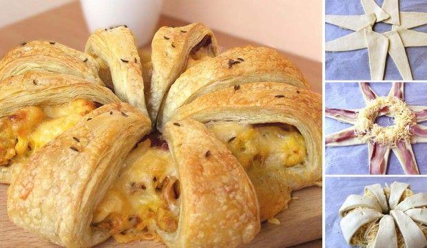 Slaná snídaňová hvězda s vejci, sýrem a slaninou   Čarujeme