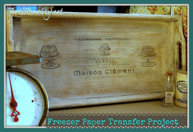 using freezer paper to turn and old plain tray into a vintage french, diy home crafts