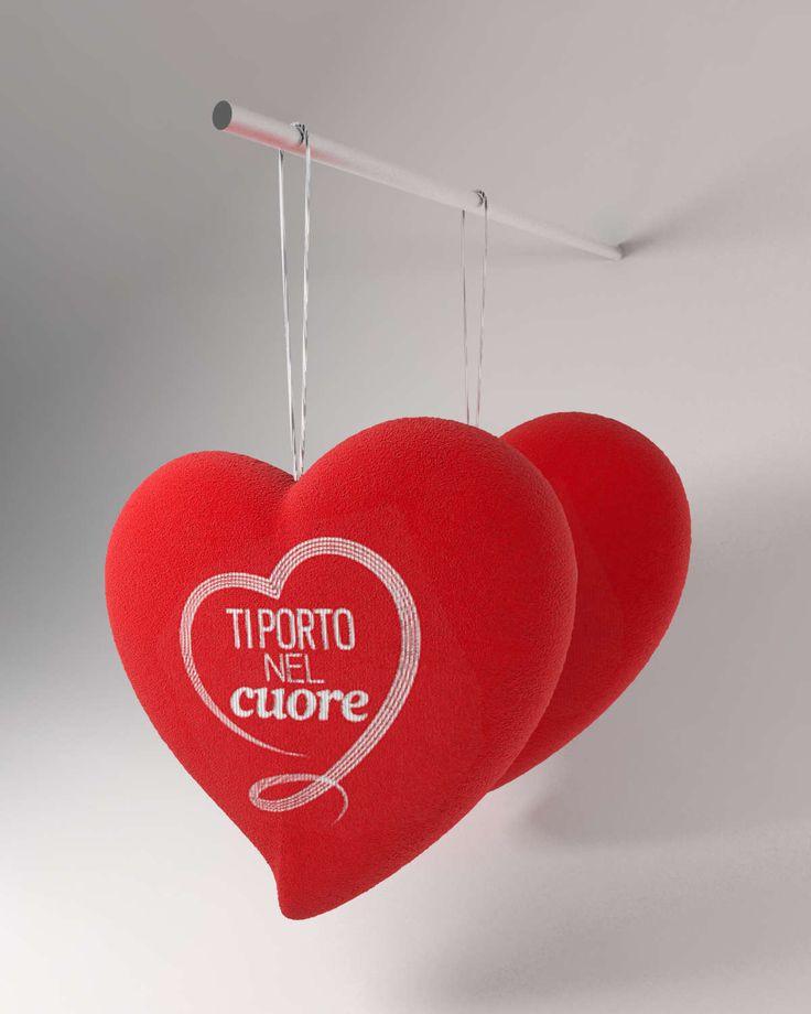"""""""Ti porto nel cuore"""". Cuore di peluche per la maratona televisiva Telethon. / Plush heart for Telethon.  #render #rendering #3dmodel #3dmax #vray #visualization #italiandesign #design #italy #heart #cuore #peluche #plush #red #rosso #object #prototype #3d #love"""
