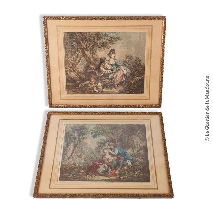 Paire de gravures de Daullé, encadrées, Peintures de François Boucher, gravures de G. Daullé 1756   -   Les délices de l'automne   -  Les charmes du printemps