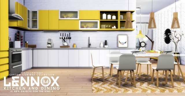 Sims 4 CC's - The Best: Lennox Kitchen And Dining Set by Peacemaker ic