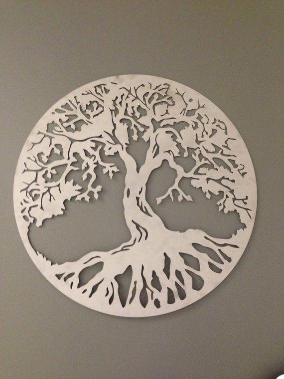 Round Tree Of Life Industrial Metal Wall Art In Caramel Copper Etsy Metal Tree Wall Art Metal Tree Metal Wall Art