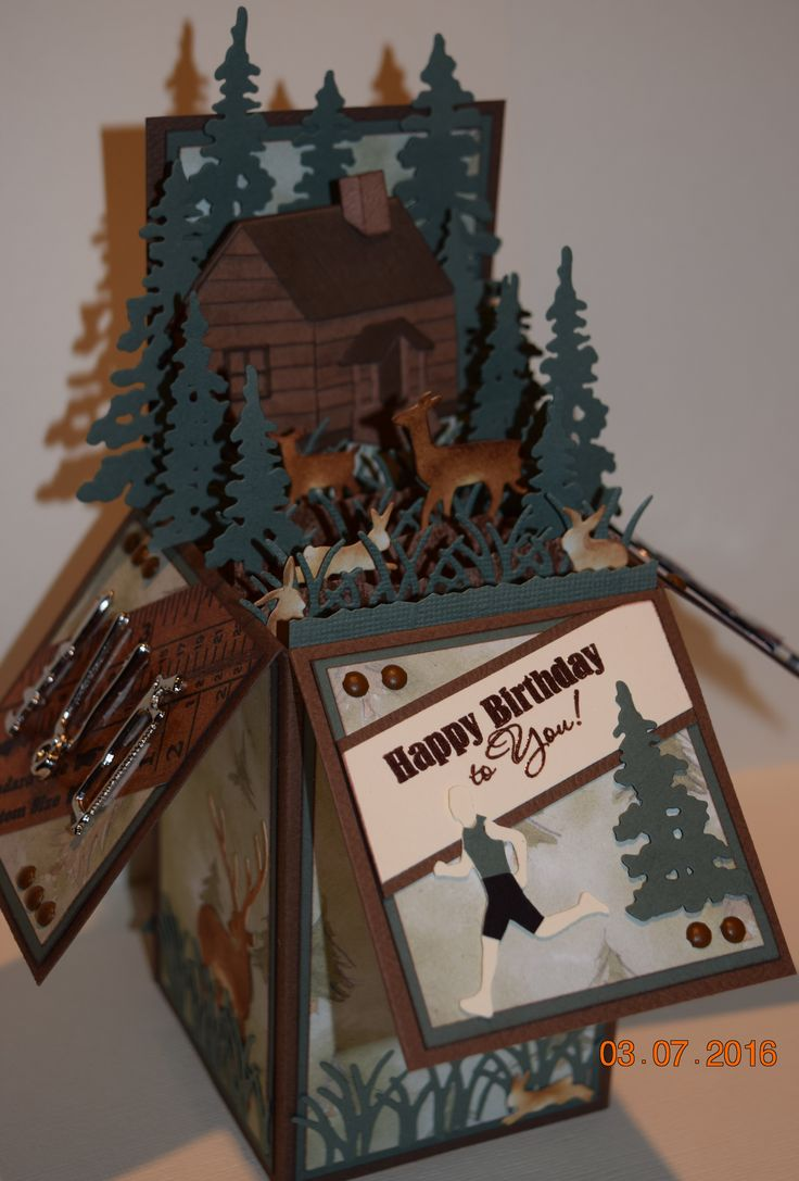Box Card - Birthday card for a man who loves nature, running marathons and is Mr. Fix It. I.O. dies; Small Cabin, Grass Border, Deer and Mini bunnies. Trees from Creative Expressions - Festive Collection. Handcrafted by Debbie Hill - Mar. 7, 2016.
