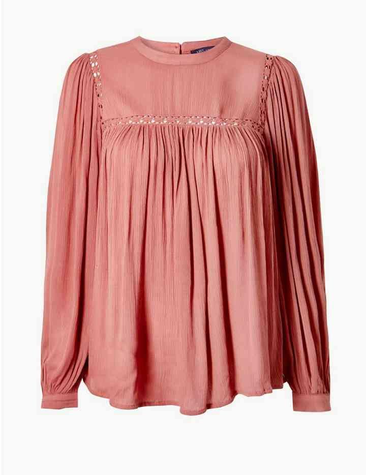 aafd2d48d07874 Lace Insert High Neck Long Sleeve Blouse | Wish list | Pinterest ...