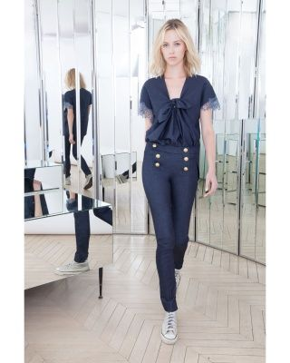 Alexis Mabille ALEXIS MABILLE SAILOR-STYLE SLIM PANTS IN STRETCH DENIM