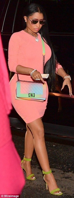 Flaunt your figure in a Versace bodycon dress like Nicki. Click 'Visit' to buy now. #DailyMail