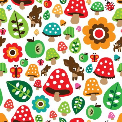 Cute flower forrest fairy animals and toadstool pattern for kids. Awesome for fabric on bedlinnen or pillow. Cute childrens bedroom inspiration.