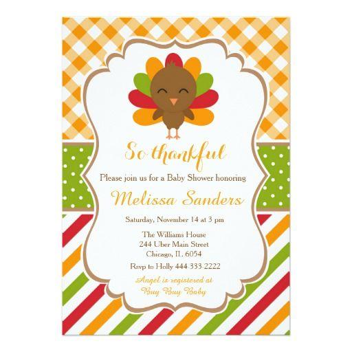 Brown and Orange Turkey Thanksgiving Baby Shower Card