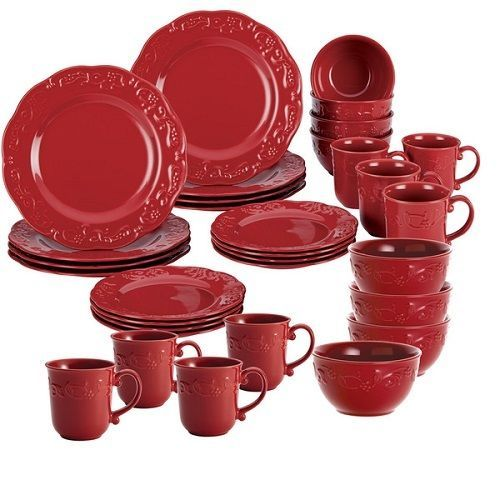 Red Dinnerware Set Solid Round Dishes 32 Pc Dish Service 8 Person Dining New