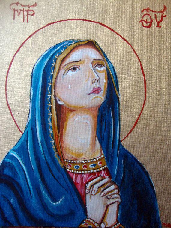 Saint Mary Praying  Original Handpainted by SilveradoJewellery