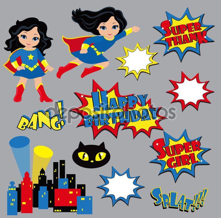 Красочный мультфильм текст подписи. Взрывы и шумы. Супер девушка. День рождения — стоковая иллюстрация #75031265