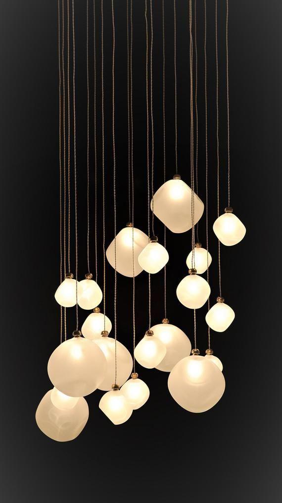 White Globe Multi Pendant Lighting Voyage Multi Pendant Staircase Chandelier Custom Diy Blown G Blown Glass Pendant Light Glass Lighting Pendant Lighting