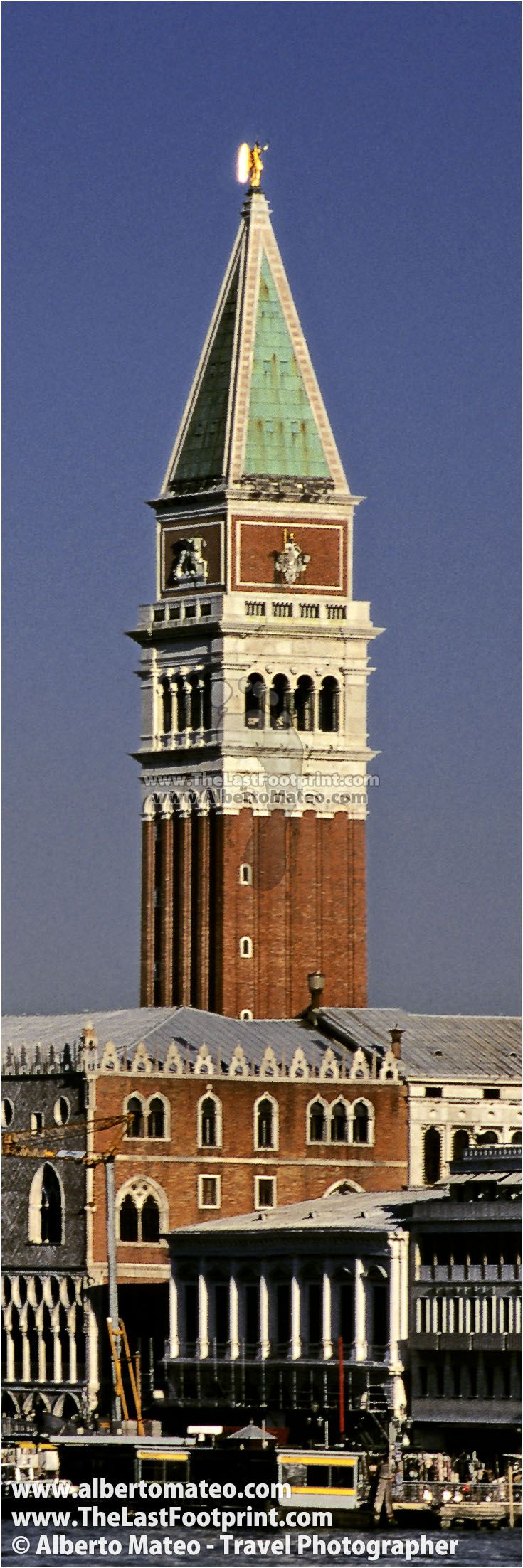 San Marco Bell Tower and Palazzo Duccale, Piazza San Marco, Venice, Italy. Photograph by Alberto Mateo, Travel Photographer.