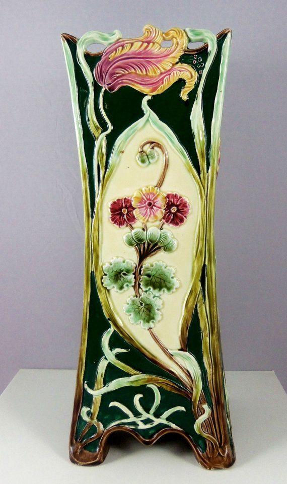 Victorian Majolica Art Nouveau Vase Antique Vase by ArtNouveauGal, $395.00