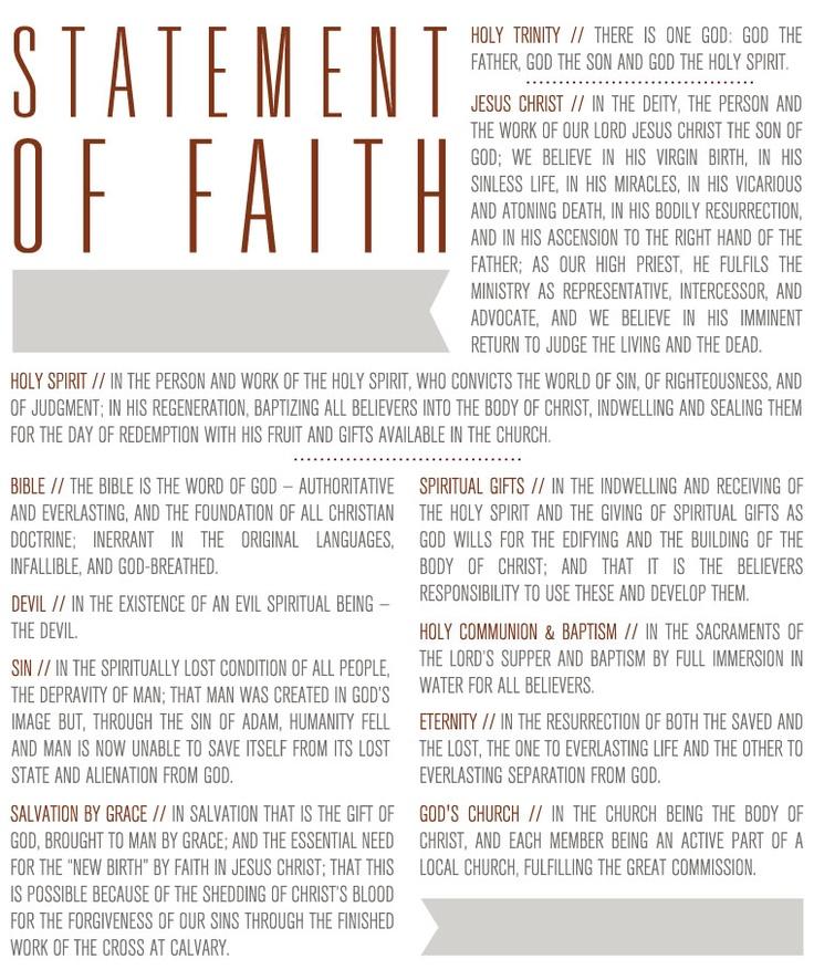 Statement Of Faith Spiritual Life Holy Spirit Faith
