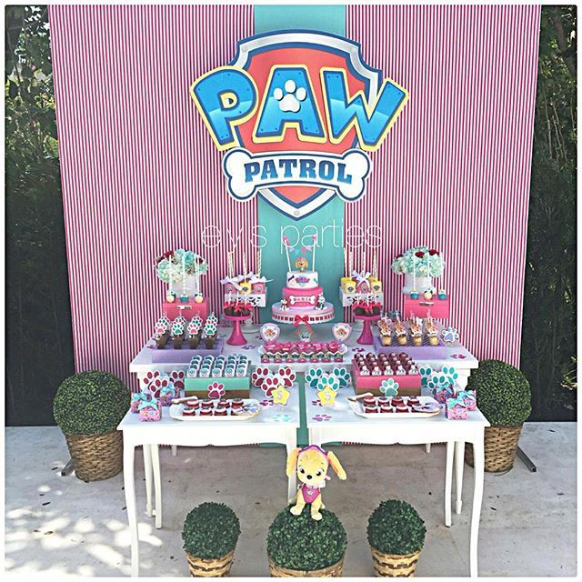 We loved the challenge of making a paw patrol party for a girl! #pawpatrol #pawpatrolparty #birthday ...
