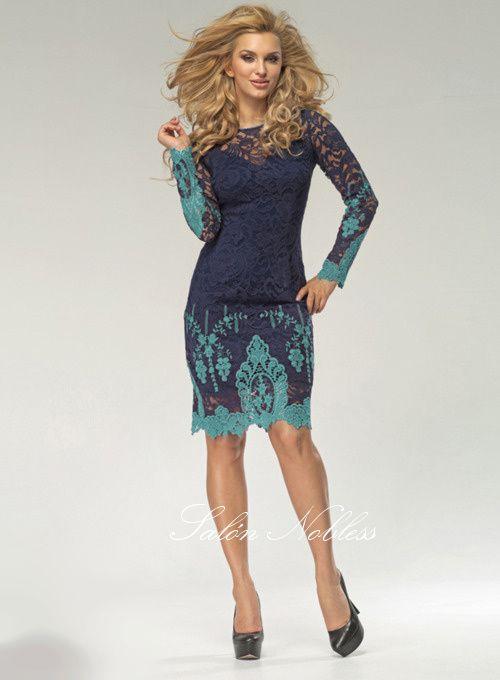 Dámské společenské šaty s dlouhým rukávem, krajka s barevnou aplikací - Salón…