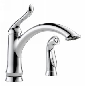 "Delta Single Handle Kitchen Faucet Linden Collection 2 or 4-Hole Installation Standard Spout Swivels 120-Degrees 9 13/16"" Long 5 7/8"" From Deck to Aerator Lever Handle(s) Finished Hot/Cold Indicator(s) 3/8"" Compression Fittings 2 1/2"" max. Deck Thickness Order RP54977 for 1.5 GPM WE Aerator Optional 10 1/2"" Escutcheon Included Matching Finish Spray 32"" Minimum Supply Lines Below the Deck Included DIAMOND™ Valve 2.2 GPM @ 60 PSI, 8.3 L/min @ 414 kPa DIAMOND™ Seal Technology"