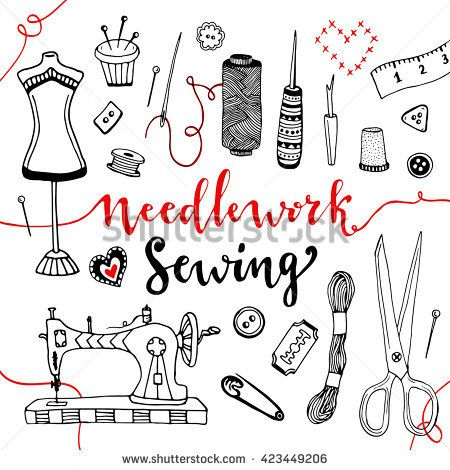 Needlework and sewing equipment and elements. Vector hand drawn doodle art with craft supplies