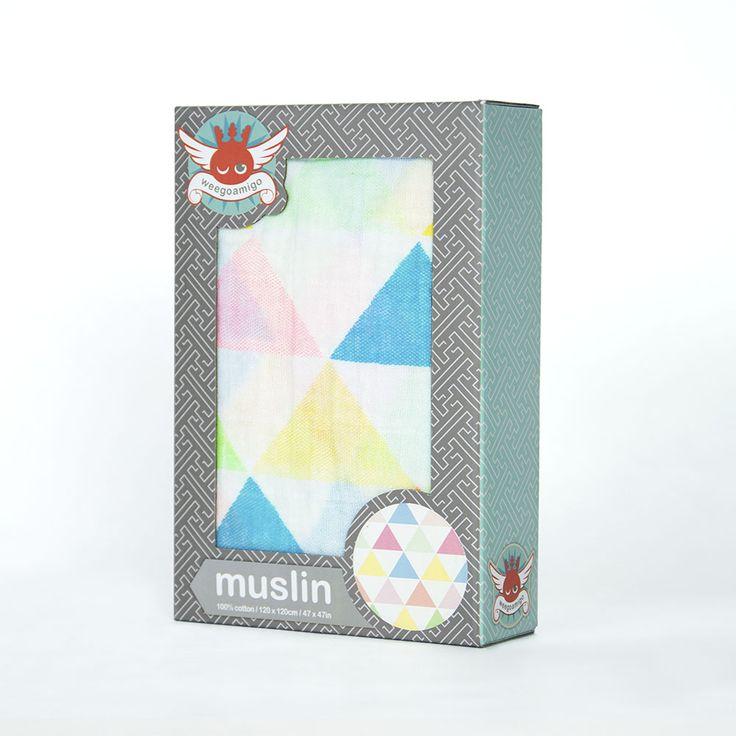 Weegoamigo Printed Baby Muslin - Tri Bright $14.95