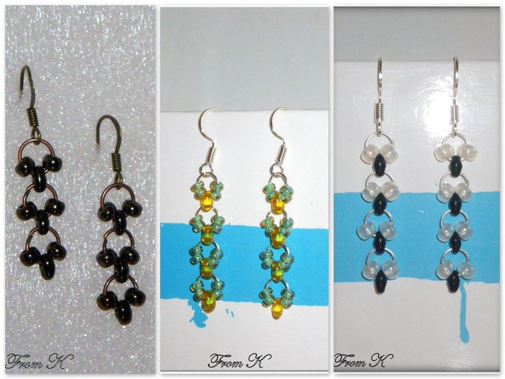 Beaded #Chainmail #earrings. They are great for everyday wear. These earrings feature Czech glass beads woven into chainmail. 3 color variation is available for now -- bronze, summer yellow and green, and simply black and white. For more visit https://www.facebook.com/BeadsFromK/photos