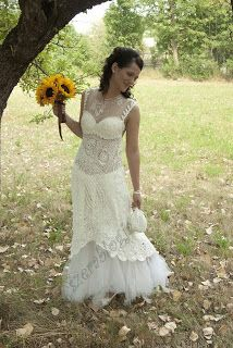 This is my hand crocheted wedding dress. 9 months to finish it, but it was worth it :)