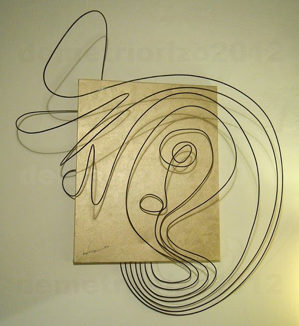 Wire sculpture by Demetrio Rizzo: Colpo di vento - 2012 - wire & canvas - Size: 70x80x30cm