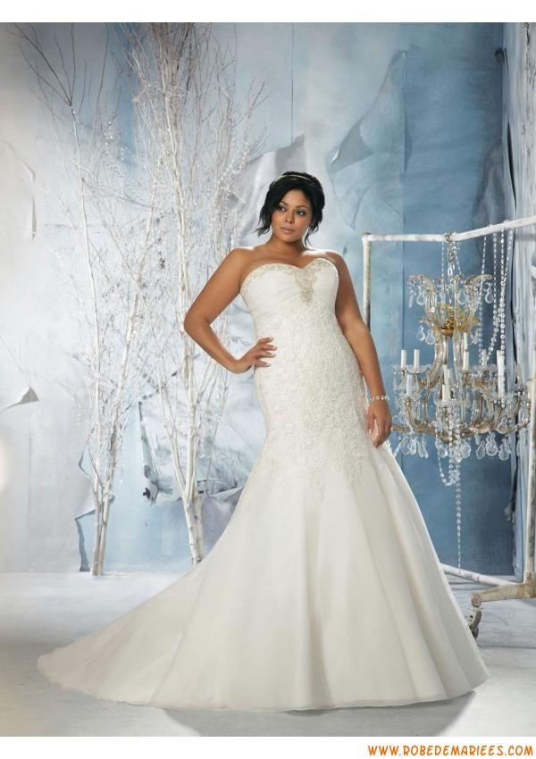 Robe de mariée grande taille organza dentelle perles