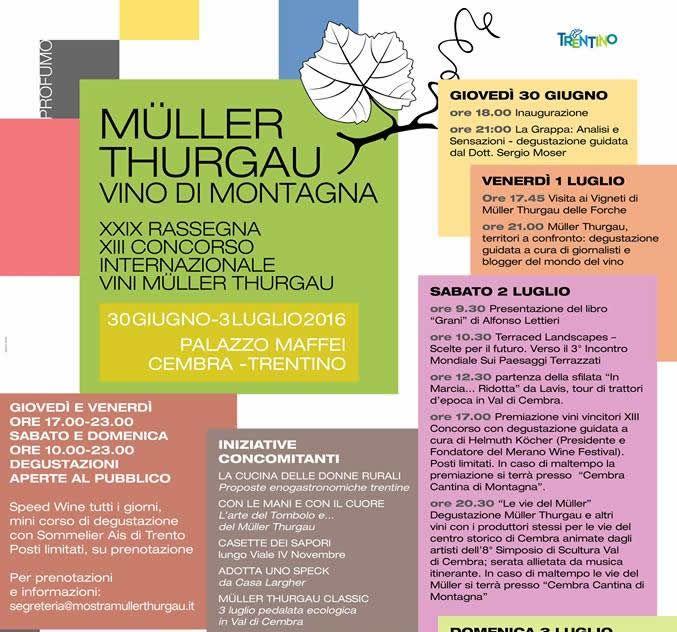 Il 30 giugno 2016, durante il XIII Concorso Internazionale dei vini Müller Thurgau, è stato ufficialmente presentato il portale ViticoltoriTrentini.com Un portale che non è dei viticoltori, né per i viticoltori ma vuole essere il punto di incontro di tutti gli amanti del vino. Perché il vino non è solamente un prodotto, ma è soprattutto