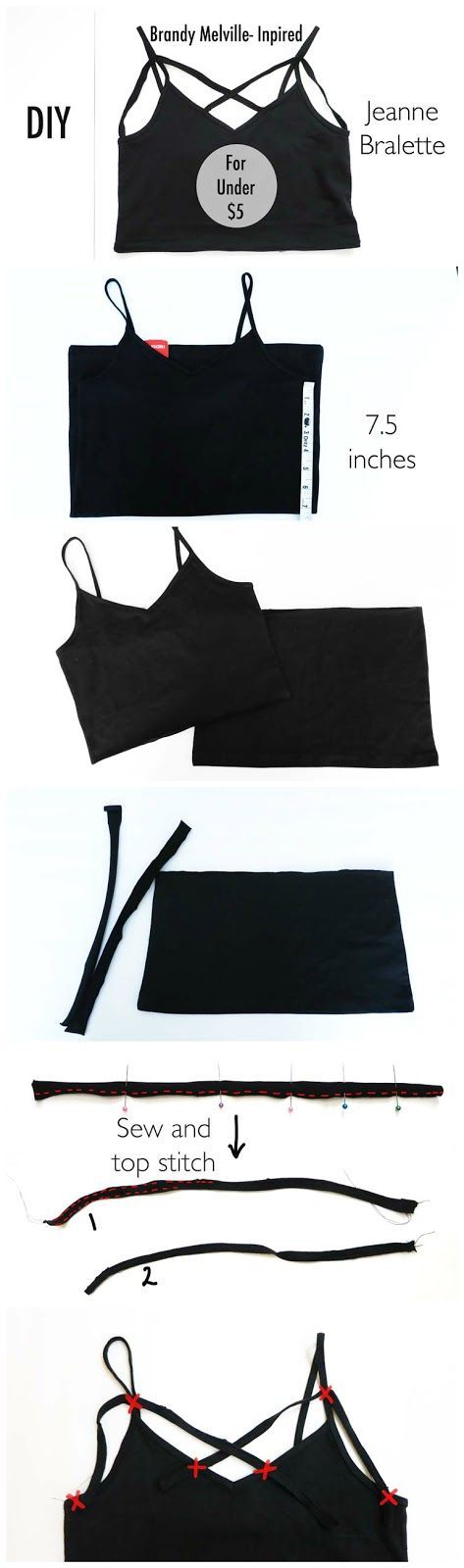 DIY Brandy Melville-Inspired Jeanne Bralette for Under $5    It works nicely as a crop top or under a tank top!