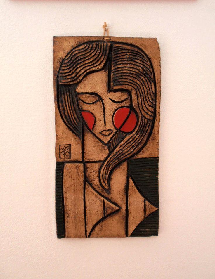 dívka - keramický obraz
