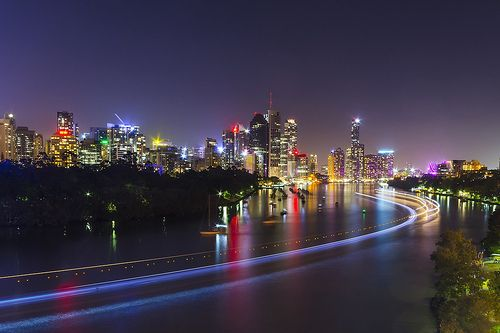 Brisbane River at night. #bneriver bmag.com.au