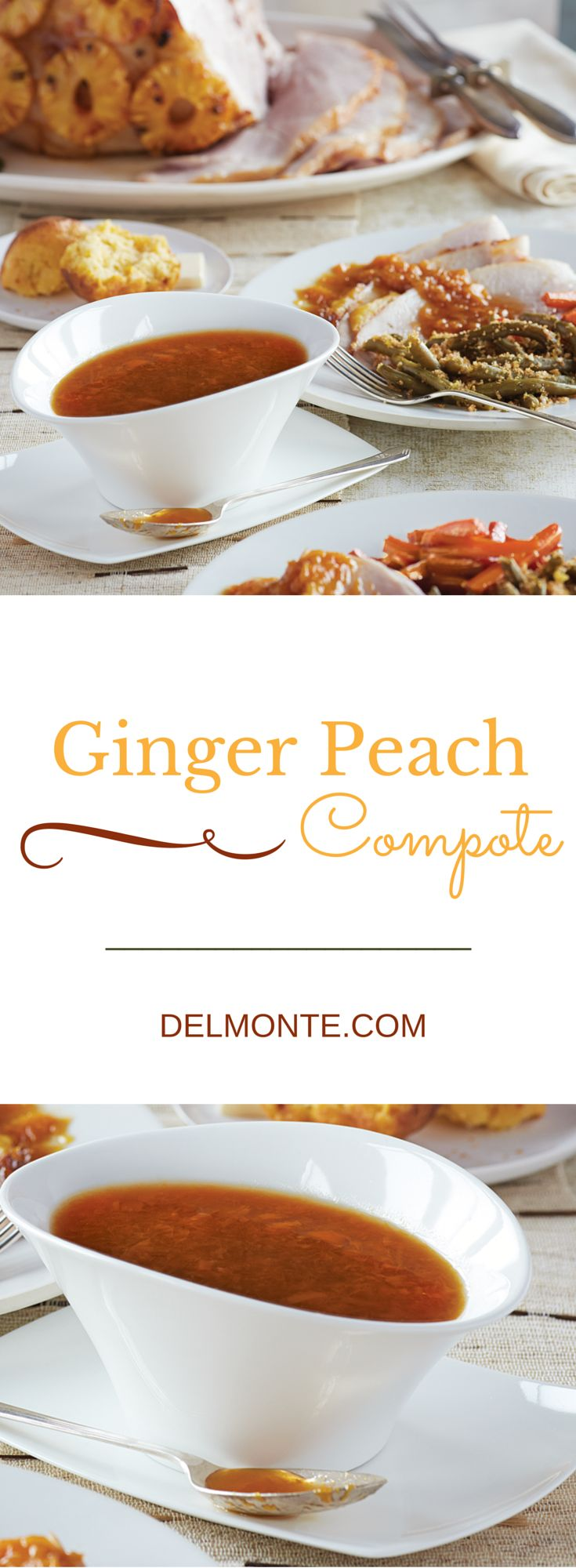 Ginger Peach Compote -  This zesty, sweet fruit sauce pairs perfectly with your holiday ham. With just 4 ingredients (canned peaches, light brown sugar, cider vinegar, fresh ginger) and a quick prep time, you will spend less time in the kitchen and more time with the ones you love. #10MINUTEWOW #DELMONTECONTEST