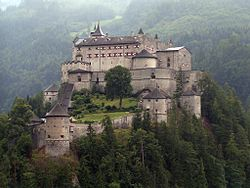Hohenwerfen Castle (German: Burg Hohenwerfen) stands high above the Austrian town of Werfen in the Salzach valley,