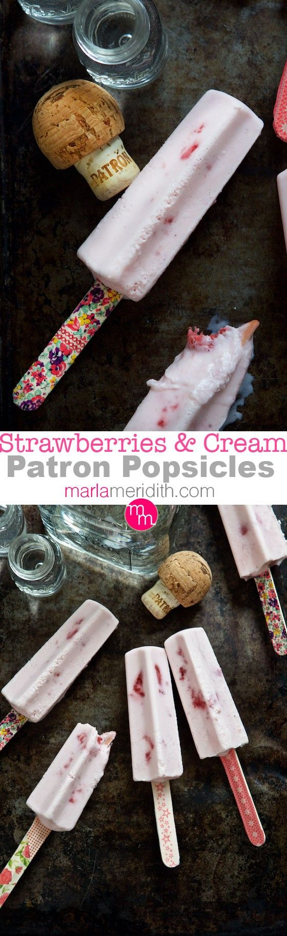 Strawberries & Cream Patron Popsicles | Serve these at your next outdoor party! MarlaMeridith.com ( @marlameridith )