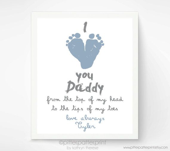 Personalized Father's Day Gift for New Dad - I Love You Daddy Baby Footprint Art Print - Gift for Father, Daddy, Papa