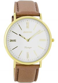 OOZOO Timepieces Vintage Gold Brown Leather Strap C7708 - E-oro.gr OOZOO ΓΥΝΑΙΚΕΙΑ ΡΟΛΟΓΙΑ