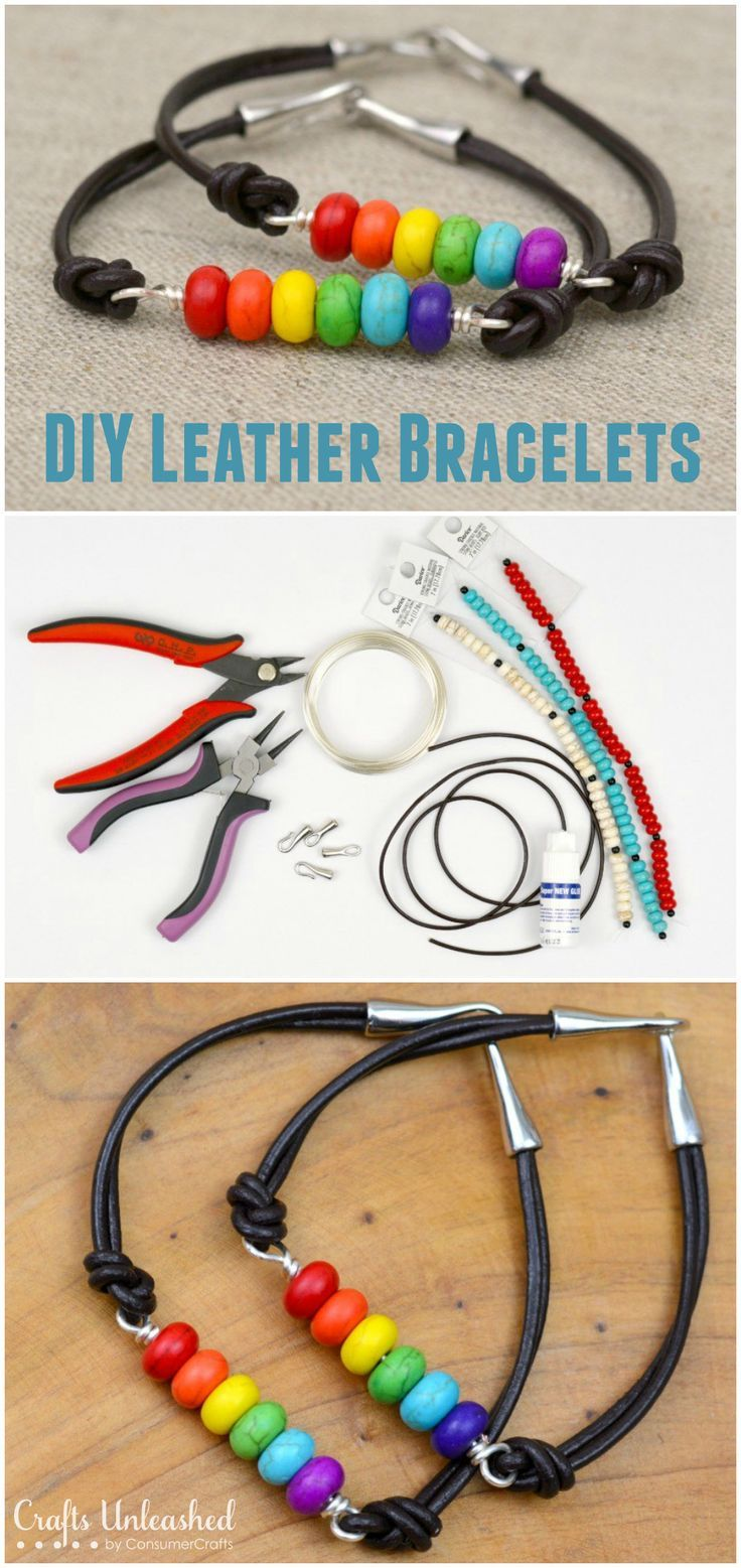 Diy Leather Bracelet Rainbow Beads Crafts Unleashed