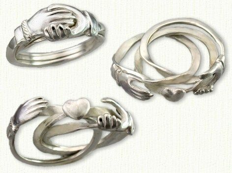 This is a Gimmel Ring, its an old fashioned engagement ring. It splits into three rings, one for the bride (one hand), one for the groom(the other hand), and one for a person who witnesses the engagement (the heart). On the wedding day all three rings come together and are given to the bride. I totally want one!