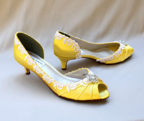 Perfect Yellow Wedding Shoes Low Heel   Lace Wedding Shoes   The Corissa