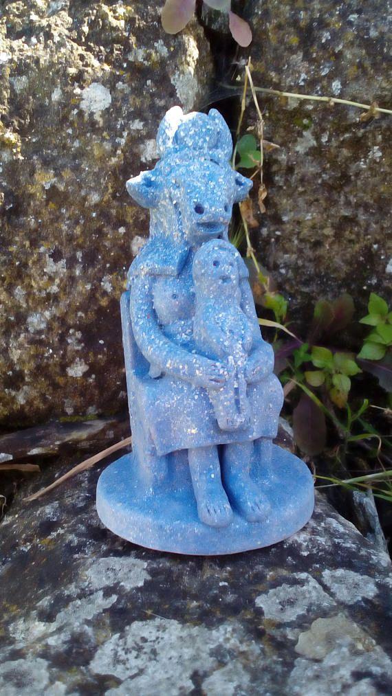 Ceramic Egyptian Goddess Hathor Statue / Goddess of the sky, dance, love, beauty, joy,  and music / Hathor Altar Statue / Hathor Figurine