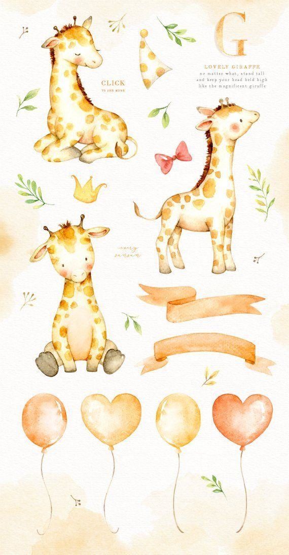 Lovely Giraffe Watercolor Clip Art Giraffe Clipart Watercolor
