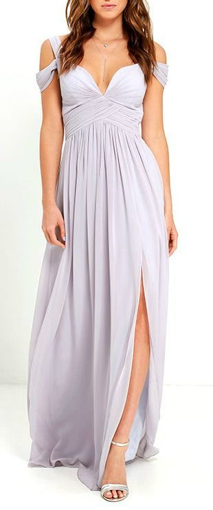 From posh prom or lavish cocktail party, and from sea to shining sea, the Bariano Ocean of Elegance Grey Maxi Dress will have you in the lap of luxury wherever you may go! Crisp grey Georgette starts this exquisite ensemble off with tank straps (joined by sheer off-the-shoulder straps) that support a fitted bodice with a plunging sweetheart neckline, and elegant ruching details. #lovelulus