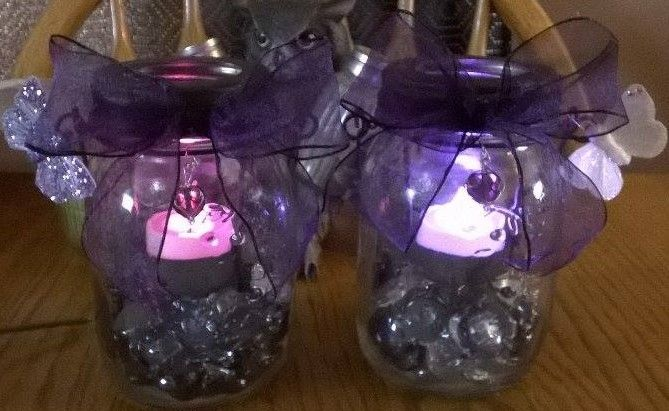 Pieces I made for my reception out of jars...
