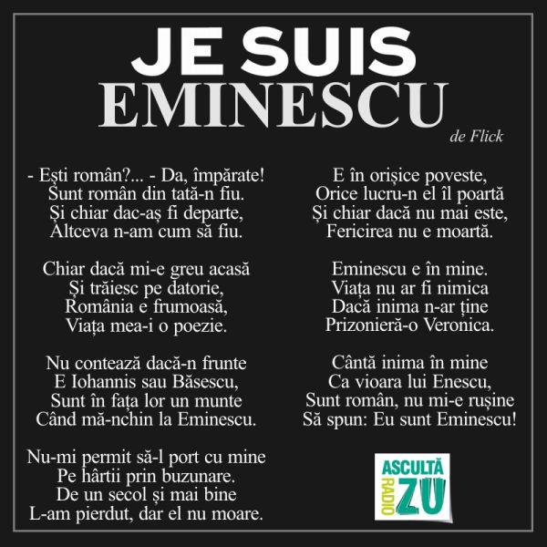 """Stiri Morning ZU Radio ZU - Ascultă poezia """"Je Suis Eminescu"""""""