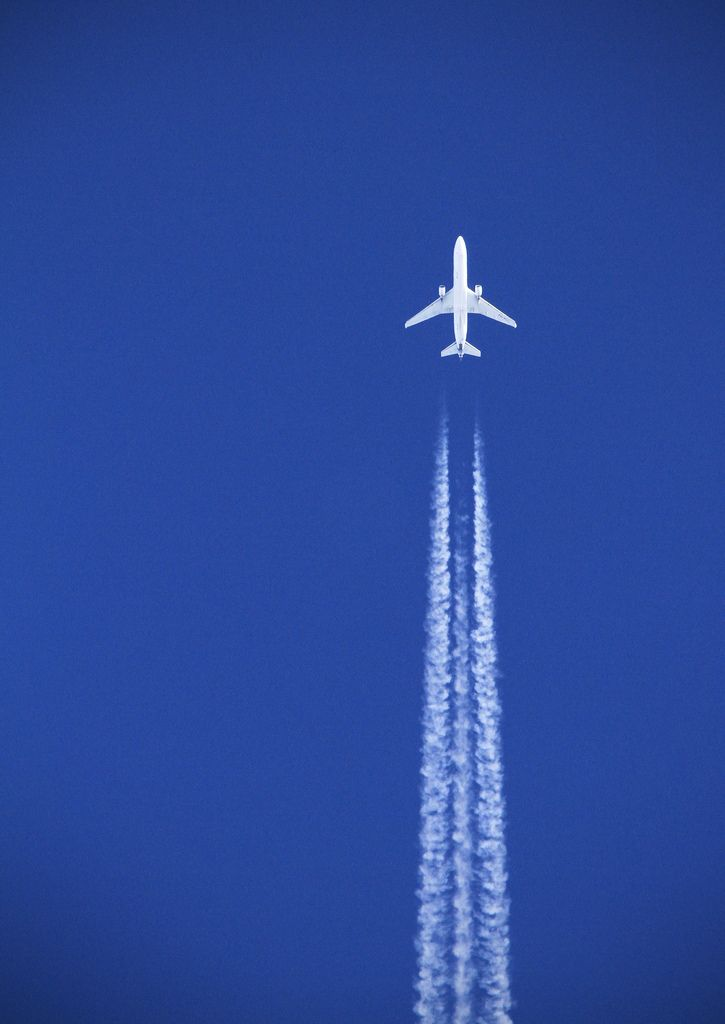 """White plane, blue sky"" by Joe_M on Flickr - A plane seen flying over Devon in a nice, clear, blue sky."