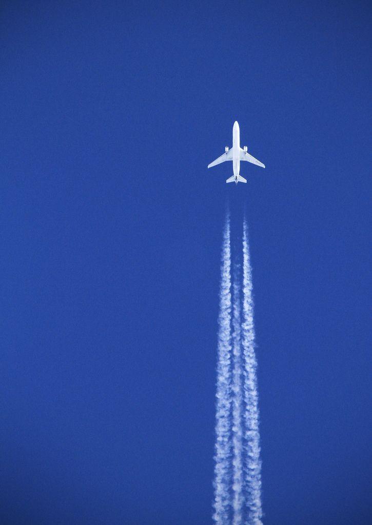 """White plane, blue sky"" by Joe_M on Flickr - A plane seen flying over Devon in a nice, clear, blue sky."
