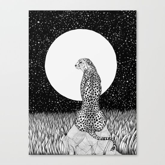 Cheetah Moon ballpoint pen drawing by ECMazur #art #illustration #animalart #cheetah