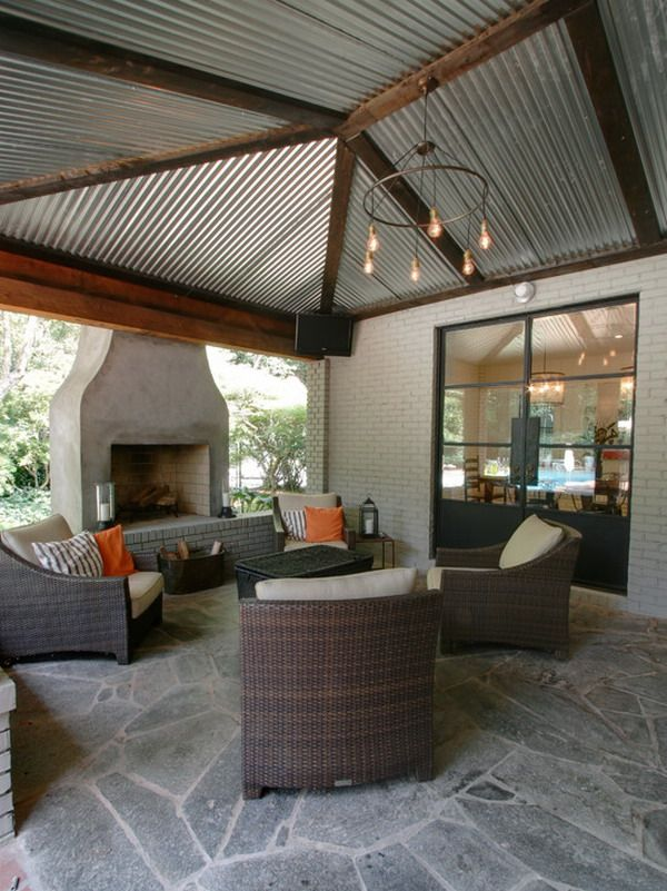 Going to do this to out patio with the left over Sheet metal from the shop that was destroyed in the hurricane. :O) Love it! U can use metal horn for drivways. They go under drive so wont collapse. Theyre long silver cylenders, with swirl all way down. Come in 6 to12ft. Male cool columns for metal roof. Looks high tech Bebo out
